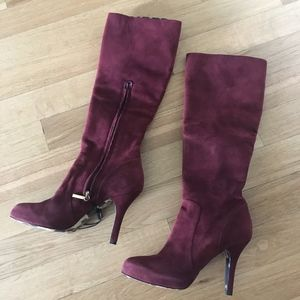 Dolce and Gabbana Bordeaux Heels Suede Boots 37.5